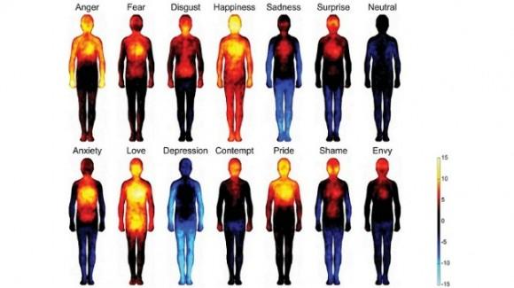 Un 'atlas' emocional localiza los 'epicentros' corporales de la felicidad o de la vergüenza. blogs.discovermagazine.com/ Lauri Nummenmaa, Enrico Glerean, Riitta Hari, y Jari Hietanen