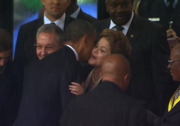 Dilma, Obama y Raúl. Foto: AP