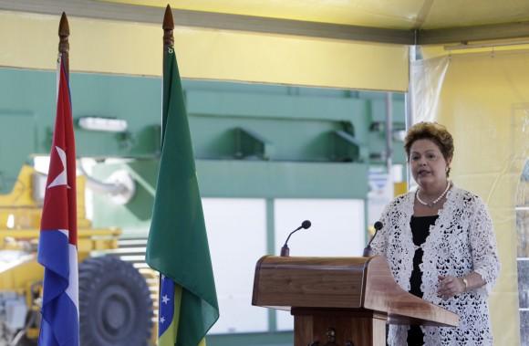 Dilma interviene en la inauguración de la Terminal de Contenedores de Mariel. Foto: Ismael Francisco/ Cubadebate