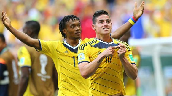 James (delante) y Cuadrado, los motores de la Colombia sin Falcao Foto: Getty Images.