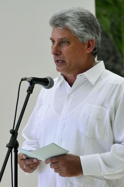 Intervención de Miguel Díaz-Canel, miembro del Buró Político del Partido Comunista de Cuba y primer vicepresidente de los Consejos de Estado y de Ministros, durante el acto de condecoración a Diana Nyad, quien recibió la Orden al Mérito Deportivo, concedida por el Consejo de Estado de la República de Cuba, Nyad es la primera persona que logró cruzar a nado el Estrecho de la Florida, en La Habana, el 30 de agosto de 2014. Foto: Marcelino VAZQUEZ HERNANDEZ/sdl