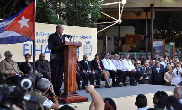 ntervención de Rodrigo Malmierca, ministro de Comercio Exterior y la Inversión Extranjera, durante la inauguración de la XXXII Feria Internacional de La Habana (FIHAV 2014), en el recinto ferial Expocuba, en La Habana. Foto: Marcelino Vázquez Hernández/AIN.