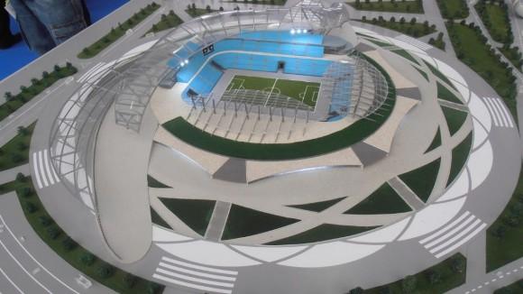 Maqueta del Estadio de Rostov del Don, una de las sedes de Rusia 2018.