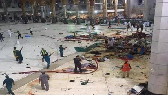 Caída de grúa en la Mezquita Al-Haram en la ciudad saudí de La Meca deja 52 muertos y 30 heridos, 11 de septiembre de 2015.