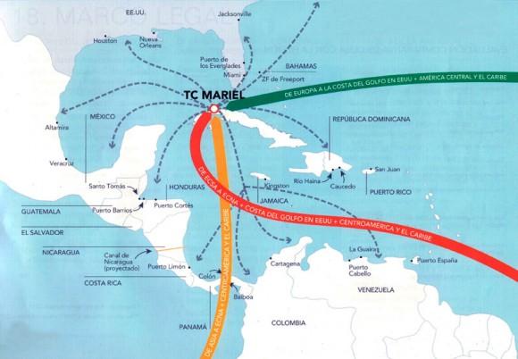 Con el desarrollo de Mariel, Cuba tiene la posibilidad de llegar a ser punto fundamental para el comercio entre Asia, Europa, Centro y Sudamérica, el Caribe y Norteamérica. Gráfico: Caribbean Professional Services Ltd. / Oficina de la ZEDM