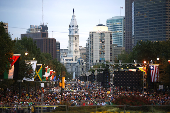 Thousands of people attend the Festival of Families along the Benjamin Franklin Parkway, Saturday, Sept. 26, 2015, in Philadelphia during the visit of Pope Francis to the city.  (AP Photo/Matt Rourke, Pool)