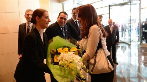 Cristina Kirchner ayer, después de su arribo a Nueva York.Foto:Presidencia