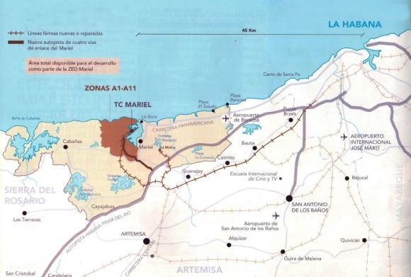 La Zona Especial de Desarrollo Mariel, situada a 45 km al este de La Habana, se extiende desde la bahía de Cabañas hasta el río Baracoa y ocupa un área de 465.4 km2, en la provincia de Artemisa. (Gráfico: Caribbean Professional Services Ltd./ Oficina de la ZEDM)