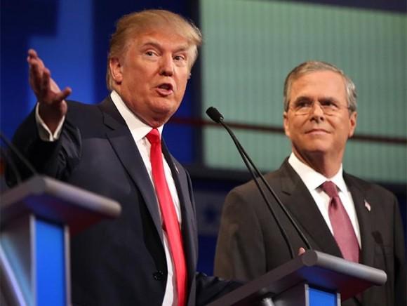 Jeb Bush y Donald Trump en el debate del Partido Republicano. Foto: AP