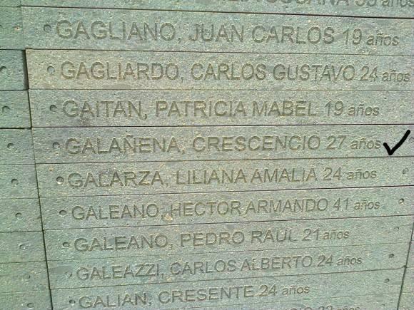 El diplomático cubano Crescencio Galañena, asesinado durante la dictadura argentina, es recordado en el Parque de la Memoria. Foto: Orestes Pérez / Cubadebate