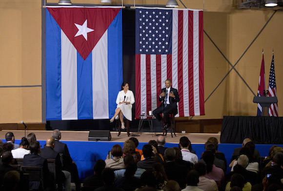 El Presidente Barack Obama interviene en el Foro de Negocios Cuba-EEUU. Foto: Desmond Boyland/ Ap