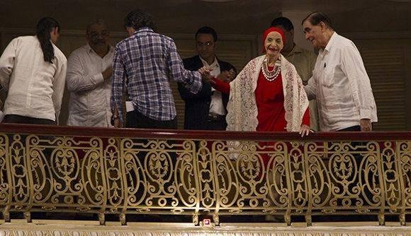 Alicia Alonso, Prima ballerina assoluta y Directora del Ballet Nacional de Cuba durante la Gala por el 55 aniversario de la UNEAC. Foto: Ladyrene Pérez/ Cubadebate.
