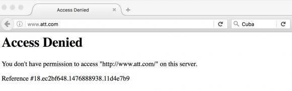 """A pesar del anuncio, los usuarios en Cuba no pueden acceder a la página de ATT que sigue bloqueada desde Estados Unidos. Cuando se intenta ir a la dirección www.att.com, aparece el cartel de """"acceso denegado""""."""