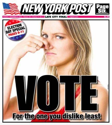 """Portada del tabloide New York Post pidiendo ir a votar al """"que menos te disguste"""""""