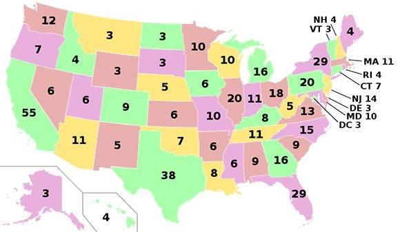 Votos electorales de cada estado en EE.UU.