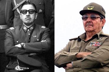 Los generales Raúl Castro y Augusto Pinochet