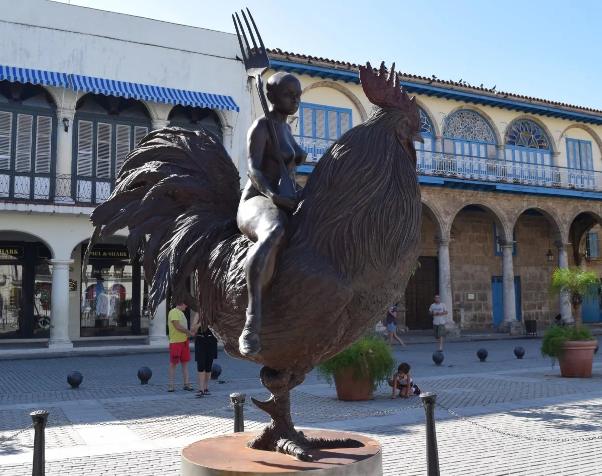Weird chicken statue