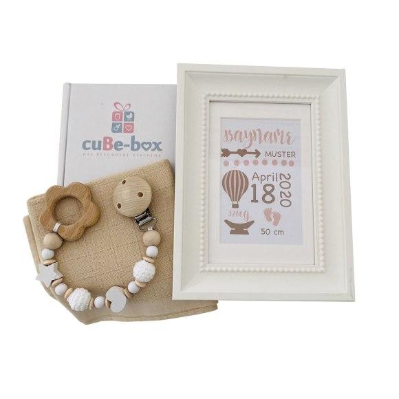 cuBe-box Babygeschenke babybox nuscheli beige