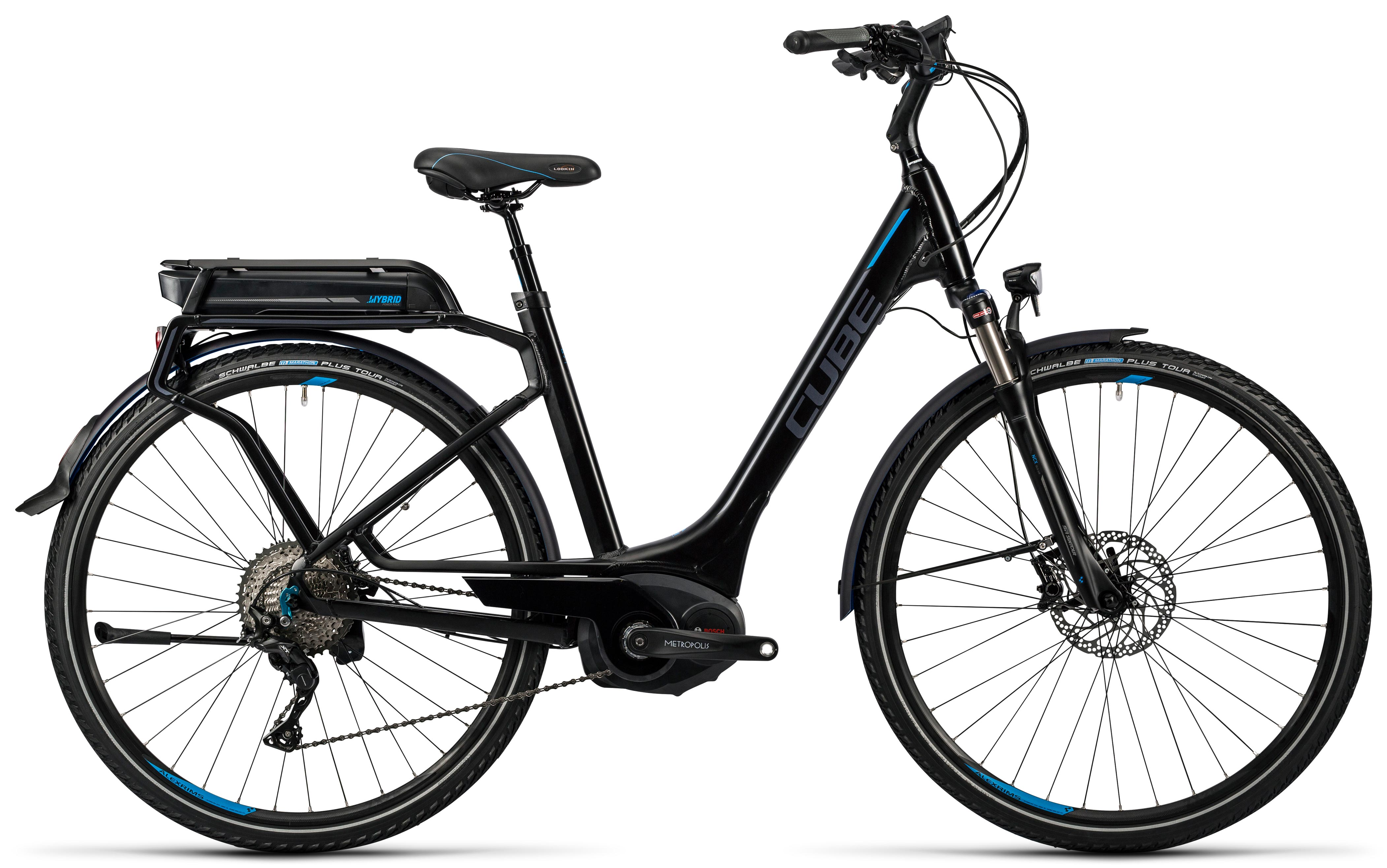Cube Touring Hybrid Exc 500 Black N Flashblue Easy Entry