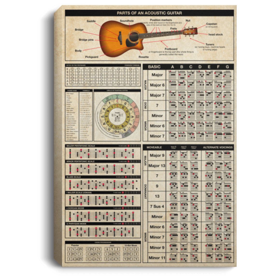 guitar anatomy knowledge gallery wrapped framed canvas prints unframed poster home decor wall art