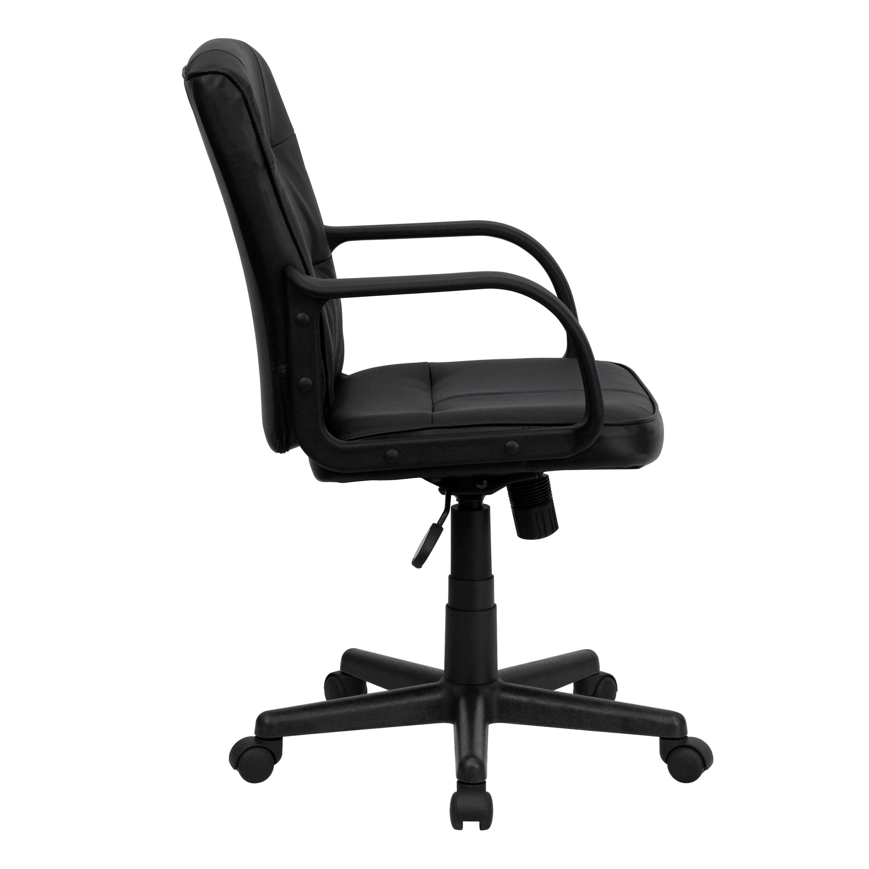 dorado office chair swing with stand outdoor black leather side view