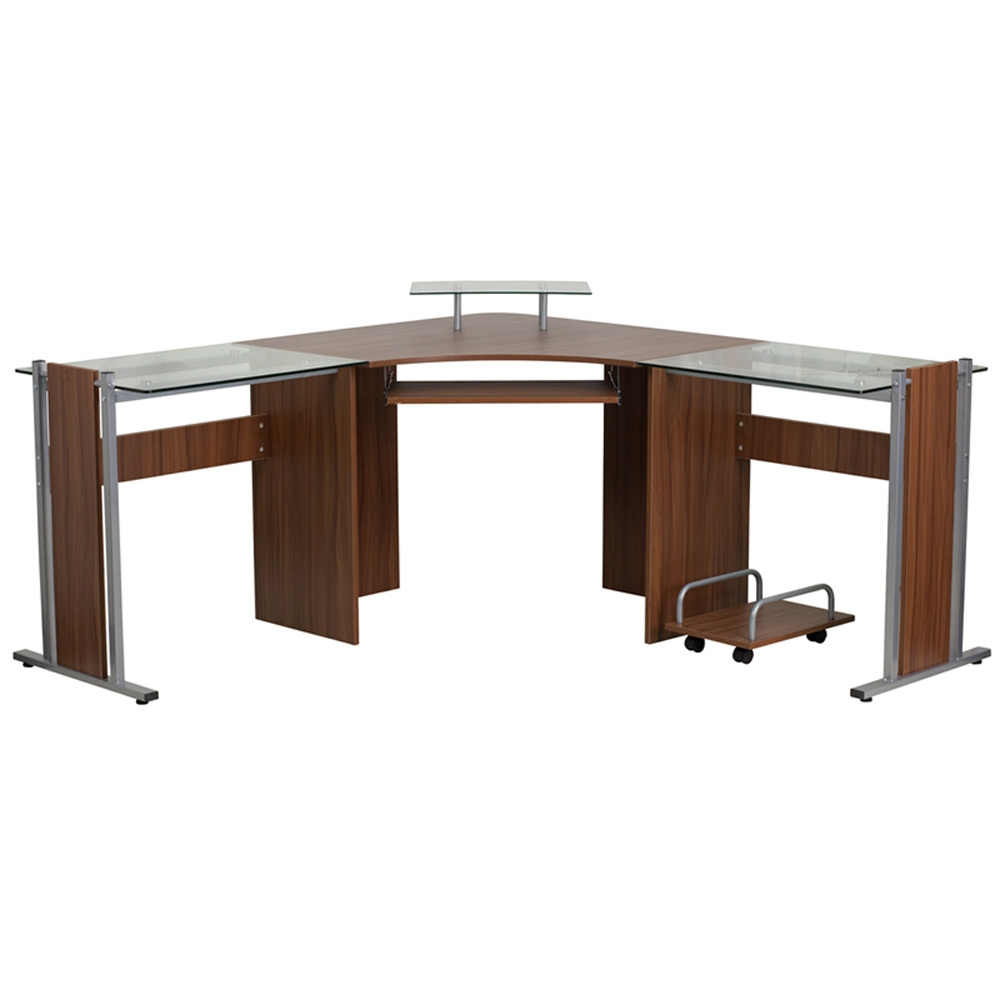 Fleur Wood And Glass Corner Desk