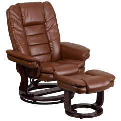 Modern Leather Recliner Swivel Chair Black Club Touch Contemporary