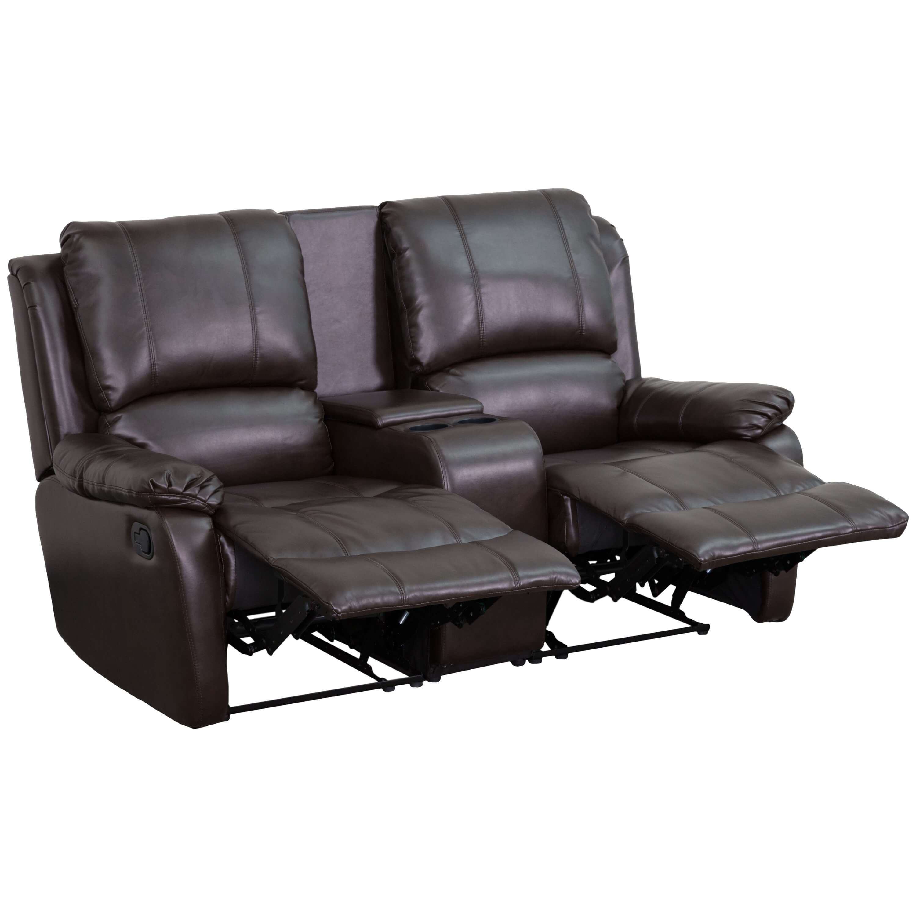 theater chairs with cup holders modern brown leather desk chair bergman recliner holder