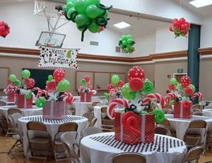 Decorating your office party with Grinch and Whoville theme decorations.