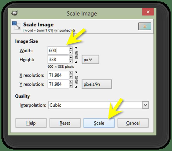 GIMP - Enter New Image Dimensions