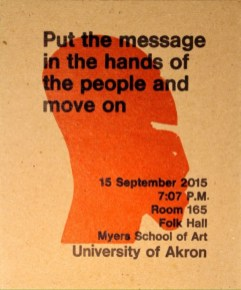 event postcard -- Myers School of Art 2015
