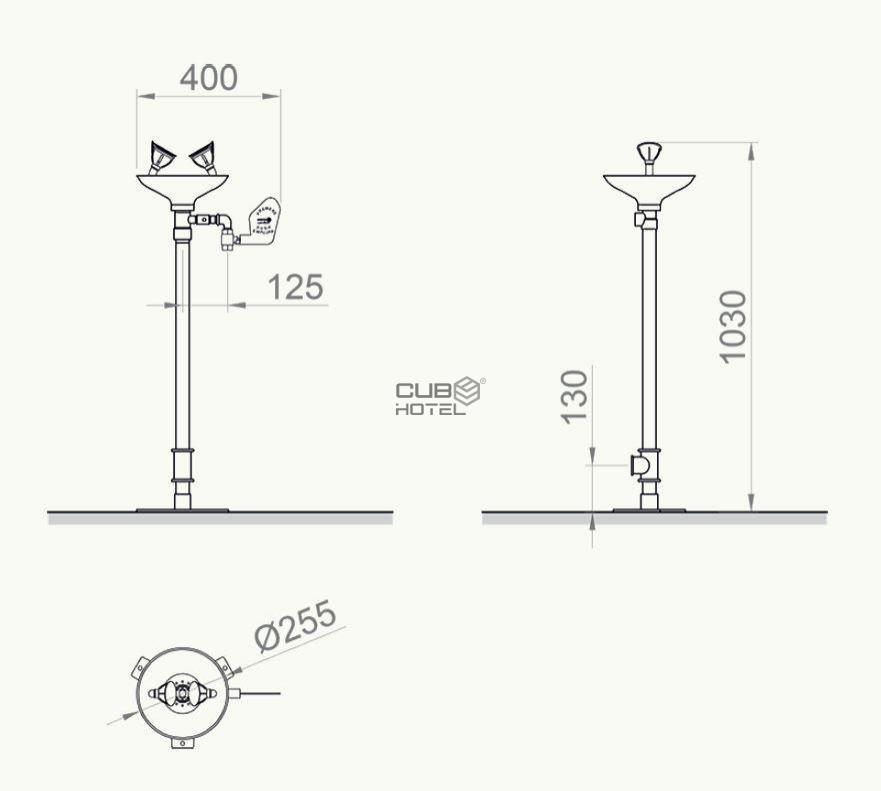 Lavaojos De Emergencia Sobre Pedestal Vaso Polipropileno