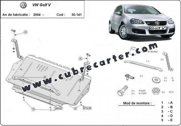 Cubre carter metalico Vw golf mk5