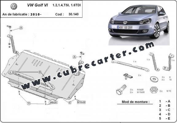 Cubre carter metalico VW Golf 6