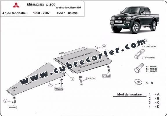 Protección de caja de cambios y diferencial Mitsubishi L 200