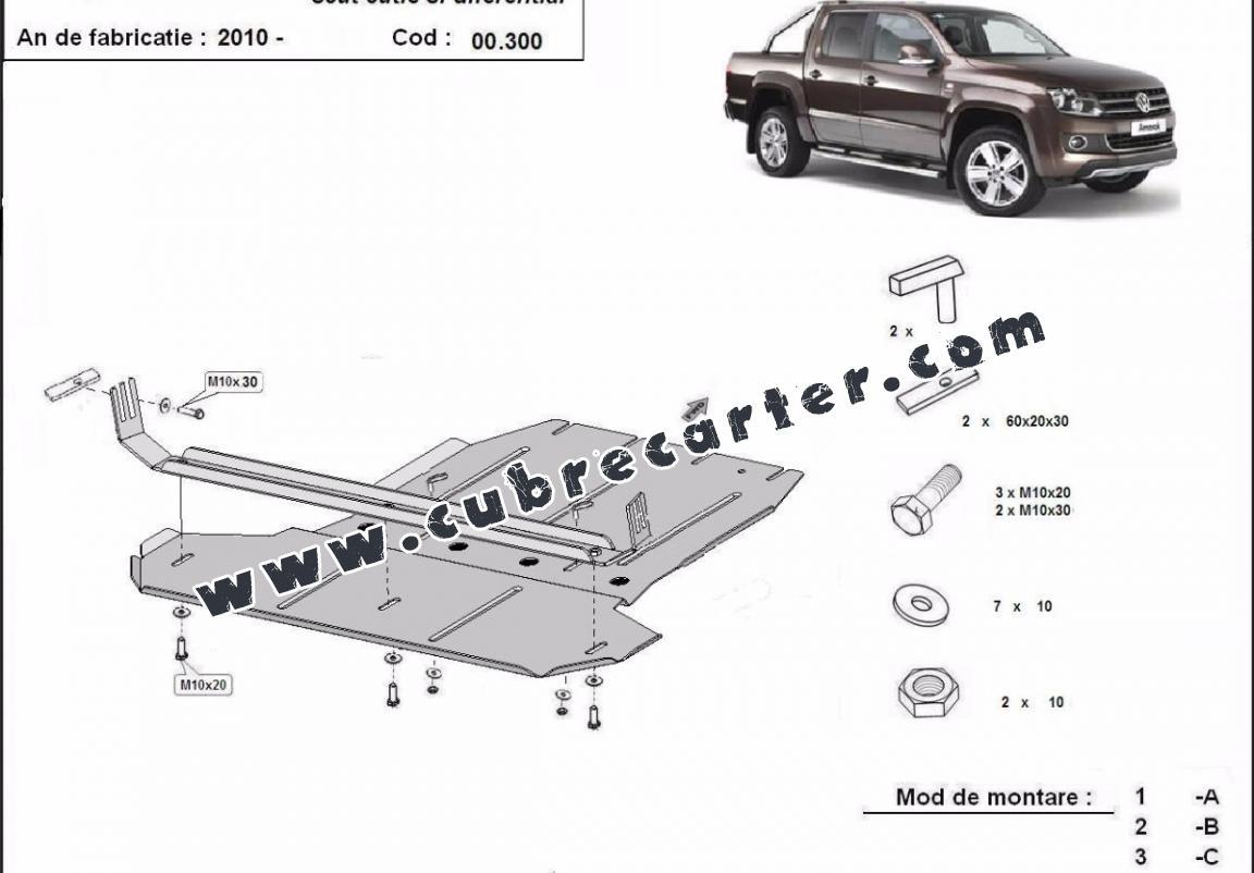Protección de caja de cambios y diferencial Volkswagen Amarok