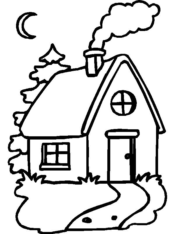 Log Cabin Coloring Printable
