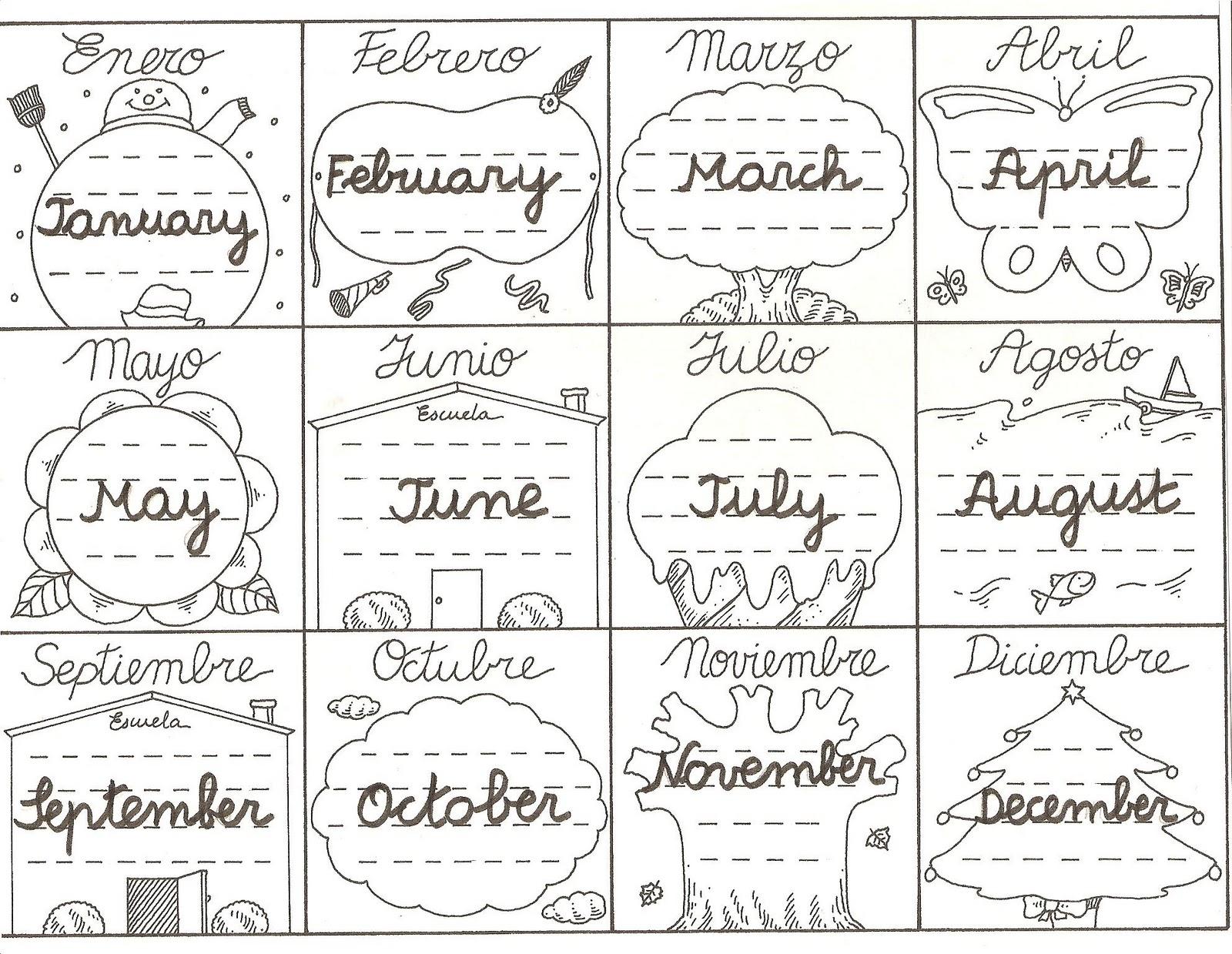 Meses del año en inglés para niños