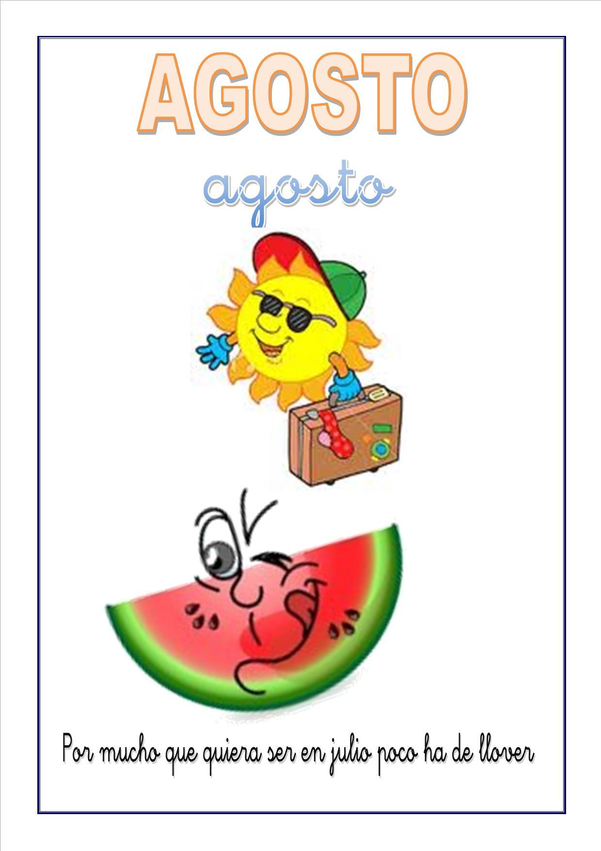 Cartel Con El Mes De Agosto Para Escolares