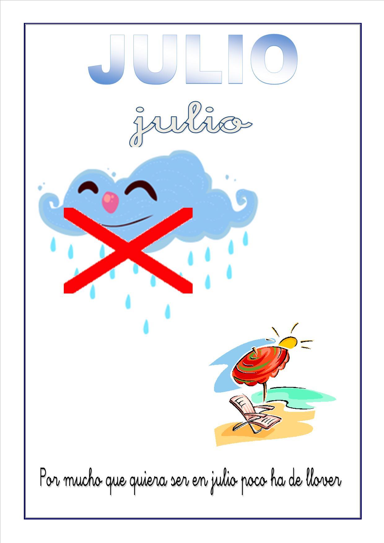 Cartel Con El Mes De Julio Para Escolares