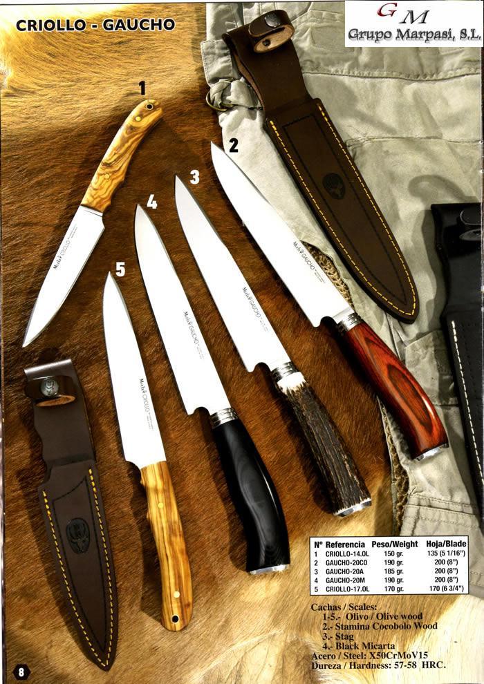 folding metal chairs dining walmart gaucho-20m - muela criollo gaucho knives hunting mountain cutlery