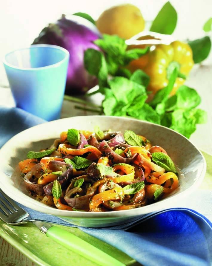 Filetti di melanzane e peperoni alla menta  Cucina Naturale