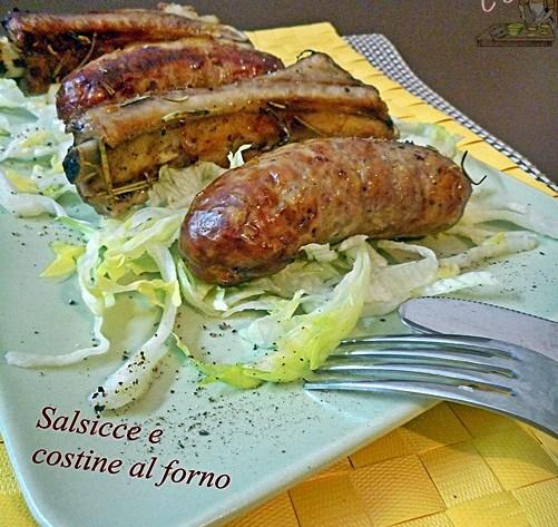 Salsicce e costine al forno