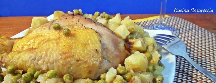 Pollo patate e piselli