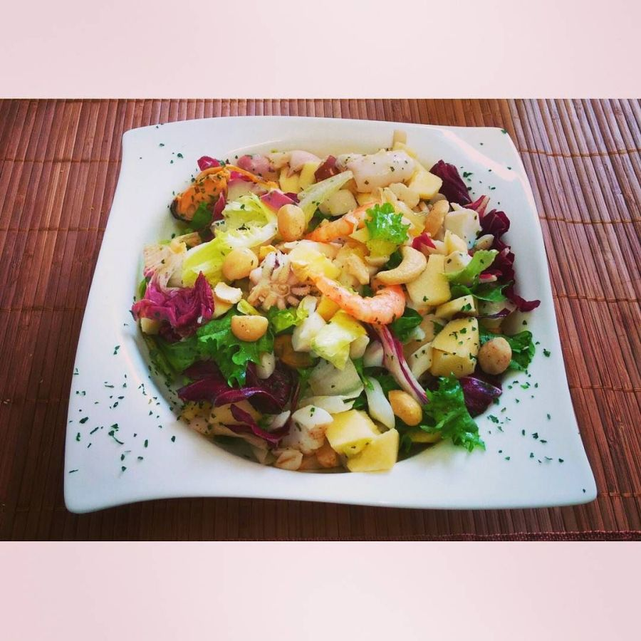 #dulight #cucinadulight #dukandiet #dukan #healthy #salad #shrimps #apple #cashews #lemon