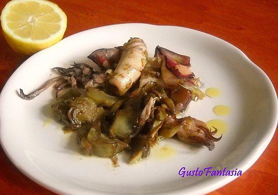 Camai co-e arti ciocche (Calamari (o seppie) ai carciofi )