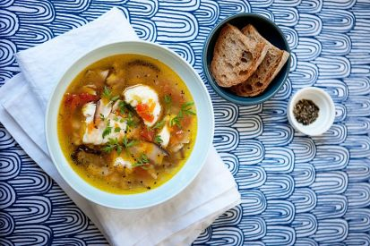 Suppa de buddego (Zuppa al sugo di rana pescatrice)