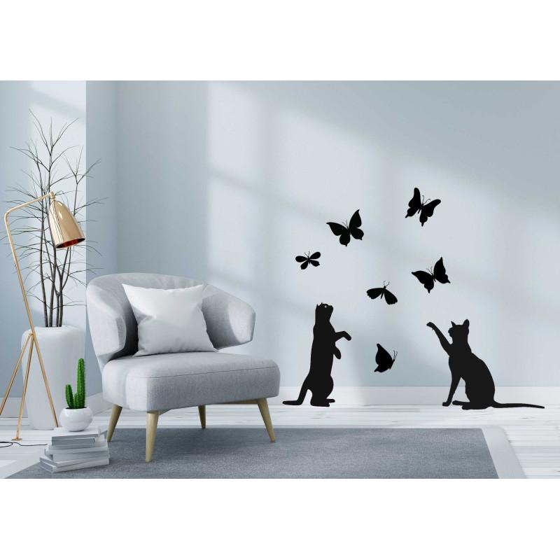 Se cerchi idee originali adesivi murali di design per decorare la tua. Adesivi Murali Gatti E Farfalle Colore Bianco Dimensione 25x23
