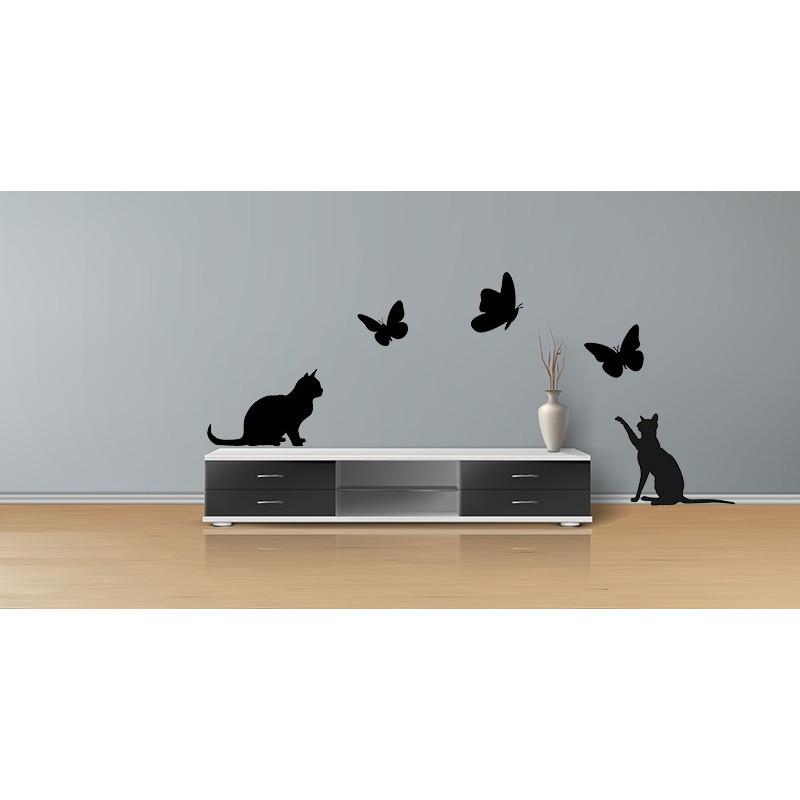 Adesivo decorativo con gatti e lampione sticker murale da parete. Adesivi Murali Gatti E Farfalle Colore Nero