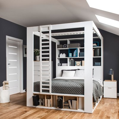 vox 4 you king 4 poster bed with storage shelves in white